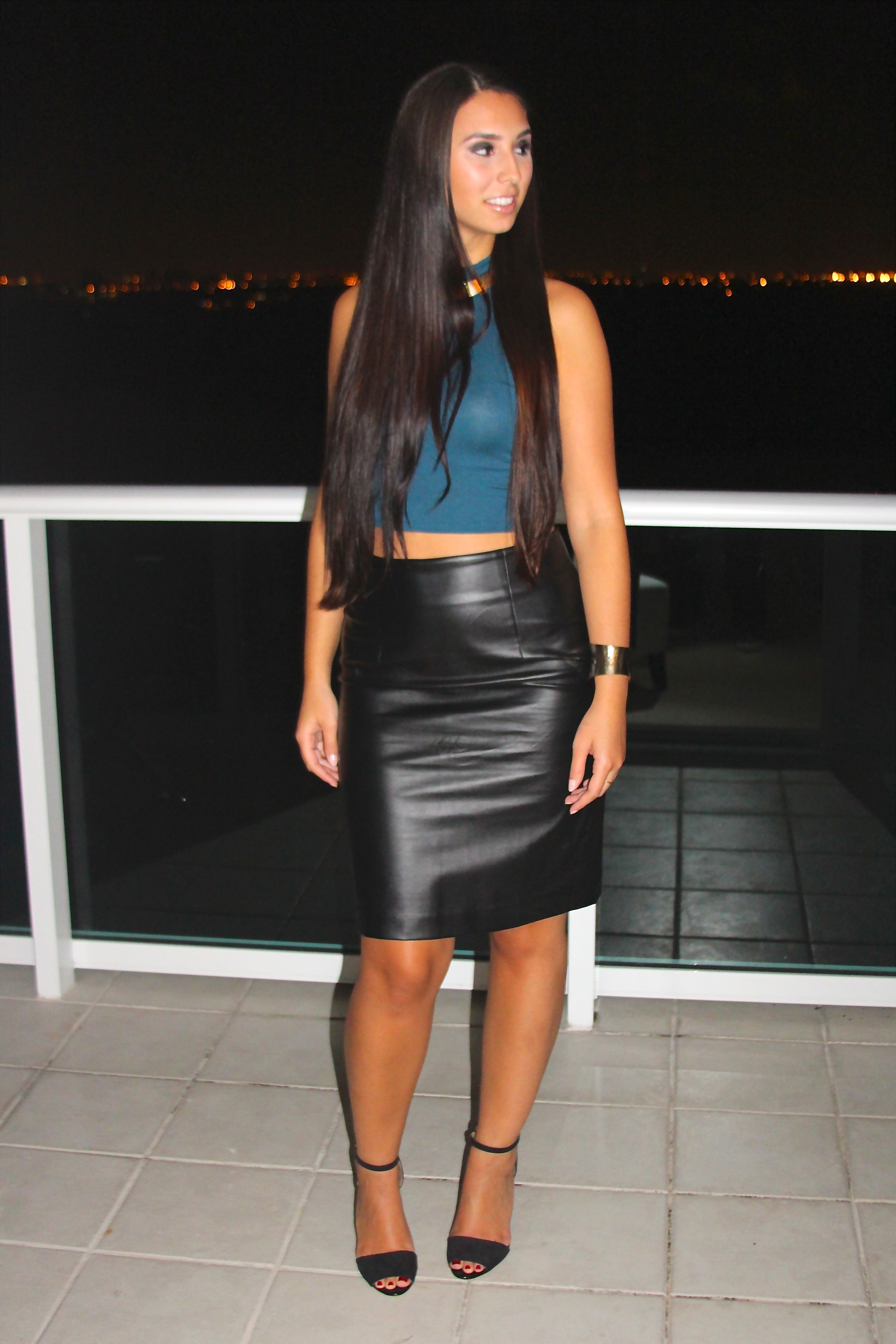 ootn crop top leather skirt bisous